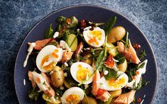 Cook the potatoes, boil the eggs and toss everything else together - a   gorgeous, feel-good salad with leaves, herbs and a sour-cream dressing