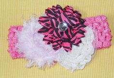 Shabby chic flowers on bright pink headband by Joysheartcreations, $5.50
