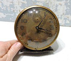 Alarm Clock Vintage Ingraham Non Working Photo Prop Salute Wind Up Steel Pedestal White Alarm Clock Made inn USA Vintage Electronics by SexyTrashVintage on Etsy https://www.etsy.com/listing/259727323/alarm-clock-vintage-ingraham-non-working