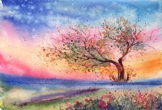 Nearing the Evening ... by AnnaArmona on deviantART ~ watercolor landscape