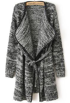 Contrast Trims Tie-waist Coat 26.33