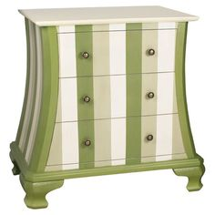 Three-drawer striped chest.Product: ChestConstruction Material: WoodColor: Green and white...