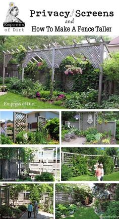 Privacy Screens and How To Make A Fence Taller - problem solving ideas for the home garden like the large scale lattice to break up a big yard/make secret garden CB Garden Privacy, Backyard Privacy, Garden Fencing, Backyard Landscaping, Privacy Screens, Natural Privacy Fences, Garden Yard Ideas, Lawn And Garden, Garden Projects