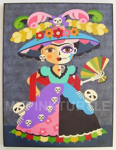 """FRIDA KAHLO La Catrina 8"""" x 10"""" giclee PRINT of Day of the Dead Dia de Muertos painting by LuLu Mypinkturtle available in my Etsy shop here https://mypinkturtleshop.etsy.com"""