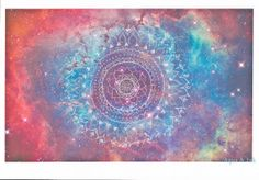 Space Mandala  Original Art  High Quality Print with by AquaAndInk, $50.00 #painting #original #art #colorful #large #etsy #boho #home #decor #contemporary #abstract #shabby #chick #decoration #colorful #mandala #space #universe #stars