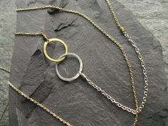 Sun and Moon, interlocking circles geometric necklace, mixed metal golden brass and silver, long delicate chain