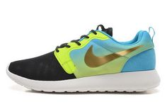 566d57651627 Nike Roshe Run HYP QS 3M Mens Black Green Blue Gold New Shoes Cheap Nike  Running