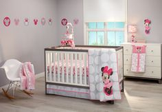 The Disney Baby Minnie Mouse Polkadots 4 Piece Crib Set is an updated, contemporary take on Classic Disney; Clean and simple design combining trend color and patterning; Grey and white are the new neutrals, top trending colors in the market place today; this collection takes on a sweet, feminine and fun point of view that the contemporary mom wants for her little girl's nursery.