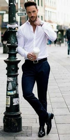 Mens fashion classy - 40 Classy Elegant Men Outfits For Work White Shirt Outfits, White Shirt Men, Casual Work Outfits, Mode Outfits, Mens Dress Outfits, Work Outfit Men, White Shirts For Men, Mens Classy Outfits, Man Outfit