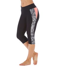 Another great find on #zulily! Bally Total Fitness Black & Coral Panel Capri Leggings by Bally Total Fitness #zulilyfinds