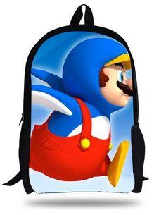 16-inch Mochilas Infantil Super Mario Bag Cartoon Backpack Kids Boys Age 7-13 Children School Bags Girls
