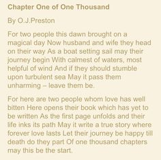 Chapter One of One Thousand - O. J. Preston Humanist Wedding Reading