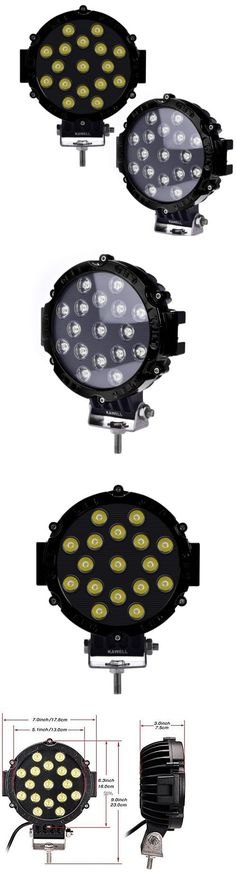 Car Lighting: 2Pcs 51W 7 Black Flood Round Led Work Light Off Road Fog Driving Roof Bar 4X4 -> BUY IT NOW ONLY: $59.99 on eBay!