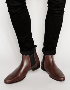 ASOS+Chelsea+Boots+in+Burgundy+Leather+With+Back+Pull