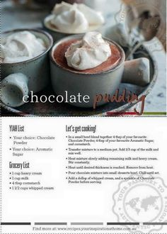 Chocolate pudding yiah http://jessicawest.yourinspirationathome.com.au