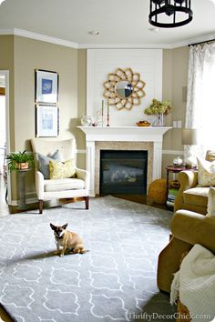 This HomeGoods rug looks incredible in the living room! These lovely rugs make u. - This HomeGoods rug looks incredible in the living room! These lovely rugs make us - Living Room With Fireplace, Rugs In Living Room, Home And Living, Living Room Decor, Fireplace Wall, Fireplace Design, Thrifty Decor Chick, Fireplace Remodel, Room Rugs