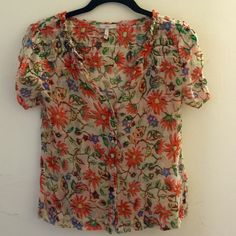 Joie Sheer Button Up Printed Blouse Joie printed blouse with ruffled details and a floral print with birds. Good used condition. Joie Tops Blouses