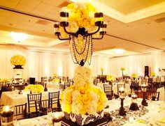Love the yellow and black in this wedding!