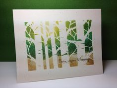 Birch stencil, distress inks, OLC, one layer card, by beesmom - Cards and Paper Crafts at Splitcoaststampers