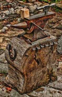 Anvil & Stand. Neat looking but I question how solid the anvil would feel because it is not on the end grain of the log.