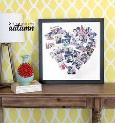 Heart Photo Collage. This heart photo collage is a great and novel gift idea for your friend's birthday. It's a cute way to put your pictures on display. http://hative.com/creative-diy-birthday-gifts/