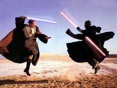 Ewan McGregor, as the young Obi-Wan, in a lightsaber battle with a pre-Vader Sith called Darth Maul, played by martial-arts expert Ray Park, February Photograph by Annie Leibovitz Darth Maul, Anakin Skywalker, Chewbacca, Star Wars Wallpapers, Galaxia Wallpaper, Star Wars I, Movie Sequels, Video Humour, Star Wars Personajes