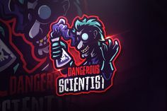 Ad: Dangerous Scientist-Mascot & Esport by AQR Studio on Introducing!, Dangerous Scientist - Mascot & Esport Logo- Suitable for your personal or squad logo, All elements on this template are Game Logo Design, Logo Design Template, Logo Templates, Coreldraw, Branding, Cores Rgb, Envato Elements, Graffiti, Esports Logo