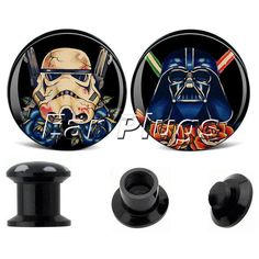 1 pair Star Wars Stormtrooper Vader ear plug gauges black acrylic screw fit ear plug flesh tunnel body piercing jewelry