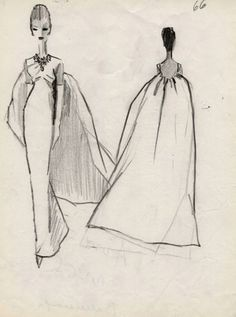 Balenciaga 1961 croquis I like the cape. Balenciaga Vintage, Balenciaga Dress, 1960s Fashion, Fashion Art, Vintage Fashion, Fashion Styles, Fashion Sketchbook, Fashion Sketches, Fashion Drawings