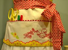 From My Vintage Mending, a beautiful utility apron using a vintage tea towel.