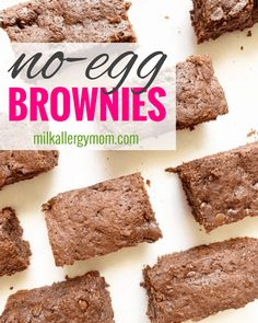 Easy Homemade Brownies With No Egg, Milk, or Nuts! Recipe Video at Milk Allergy Mom! Egg Free Recipes, Allergy Free Recipes, Milk Recipes, No Egg Desserts, Easy Desserts, Dessert Recipes, Dairy Free Baking, Dairy Free Eggs, Dairy Free Brownies