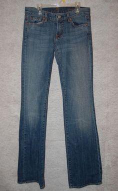 "7 For All Mankind Womens 26 Regular Denim Blue Jeans Boot Cut W 30"" L 35"" #7ForAllMankind #BootCut"