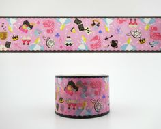 WIDE Japanese Alice in Wonderland washi tape - Cheshire Cat - white rabbit - roses - key and lock - 10 meters - pink deco paper masking tape