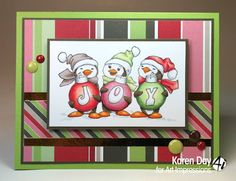 Art Impressions Rubber Stamps: Ai Christmas:  Ai Penguins set (SC0716) Michael's Exclusive!  Handmade card.