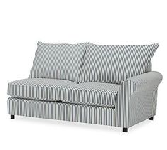 PB Comfort Roll Arm Upholstered Right Arm Loveseat, Knife Edge Polyester Wrapped Cushions, Sateen Ticking Stripe Indigo