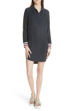 Free shipping and returns on Equipment Felix Rib Cuff Silk Shirtdress at Nordstrom.com. Ribbed knit cuffs with vibrant stripes add a sporty-chic touch to a simple straight-cut shirtdress of floaty silk.
