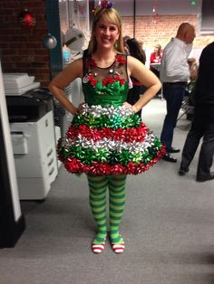 Ugly sweater party bow dress - ribbons sewed on the top and glue gunned bows on  sc 1 st  Pinterest & Easy Tulle Snowman and Christmas Tree Couple Costume | Pinterest ...
