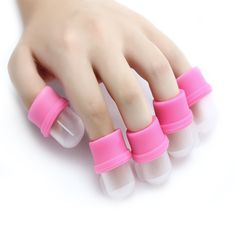 10 unids/lote Nail Polish Remover tool fingerstall profesional fototerapia crystal Nail usable Soaker Caps