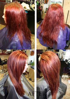 Before and after creating a gorgeous dimensional red. Layers of box color, wanting to start a transition back to a more natural color, closer to her dark blonde natural roots. Root color-Kenra 7N/6BC/6CG+10vol, highlights- Kenra Lightener+20volume, refresh and tone down ends with Kenra Demi permanent 7N/6BC.