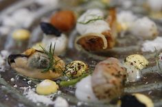 'The sea' comes with sea urchin, prawns, abalone, mussels, gnocchi and an edible interpretation of sand at Atelier Crenn