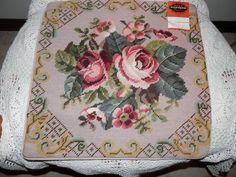 "Vtg 14"" Cottage Rose Flower Bouquet Needlepoint Pillow Cover Wool New   eBay"