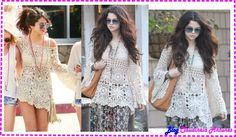 Blusa de Croche Selena Gomez com tutorial passo a passo em vídeo e Gráfico para acompanhar. Faça sua blusa em croche Tam M com fio Clea, agulha 2mm