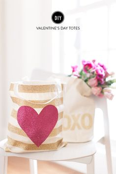 diy glittery valentine's day totes