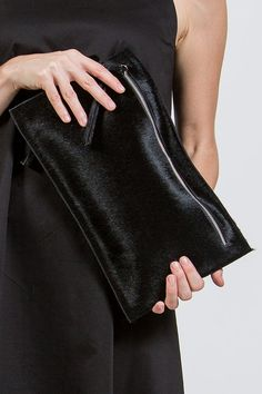 Women's black leather pony skin clutch