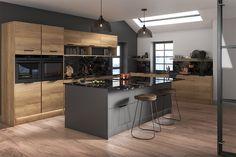 Buy Cento Natural Halifax Oak Kitchen Doors at Trade Prices - DIY Kitchens Cheap Kitchen Units, Diy Kitchen, Kitchen Dining, Grey Kitchens, Modern Kitchens, Grey Doors, Kitchen Cupboard Doors, Door Accessories, The Unit