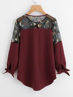 Embroidered Lace Panel Dip Hem Tie Cuff Blouse -SheIn(Sheinside) Stylish Dresses For Girls, Frocks For Girls, Casual Dresses, Casual Outfits, Hijab Fashion, Girl Fashion, Fashion Dresses, Kurta Designs, Blouse Designs