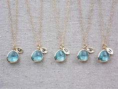 Set of 5 BRIDESMAIDS necklaces in gold or by GildedBeeDesign, $115.00