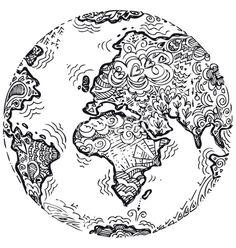 Planet earth sketched doodle vector - by carlacastagno on VectorStock®
