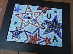 Mosaic patriotic stars with USA by MosaicMarie on Etsy