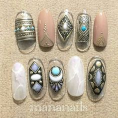 Summer Nail Designs - My Cool Nail Designs Gypsy Nails, Bohemian Nails, Cute Nails, Pretty Nails, Japan Nail Art, Country Nails, Manicure Y Pedicure, Japanese Nails, Cool Nail Designs